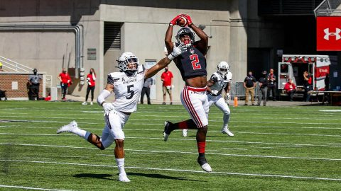 Austin Peay State University Football wide receiver Baniko Harley catches a 17 yard pass from quarterback Jeremiah Oatsvall Saturday against the Cincinnati Bearcats. (APSU Sports Information)