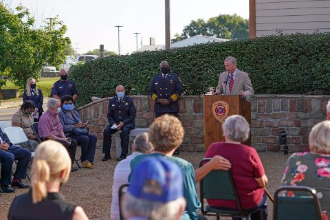 With Clarksville Fire Chief Freddie Montgomery at his side, Clarksville Mayor Joe Pitts addresses the crowd gathered Friday for the 2020 9/11 Remembrance Ceremony.