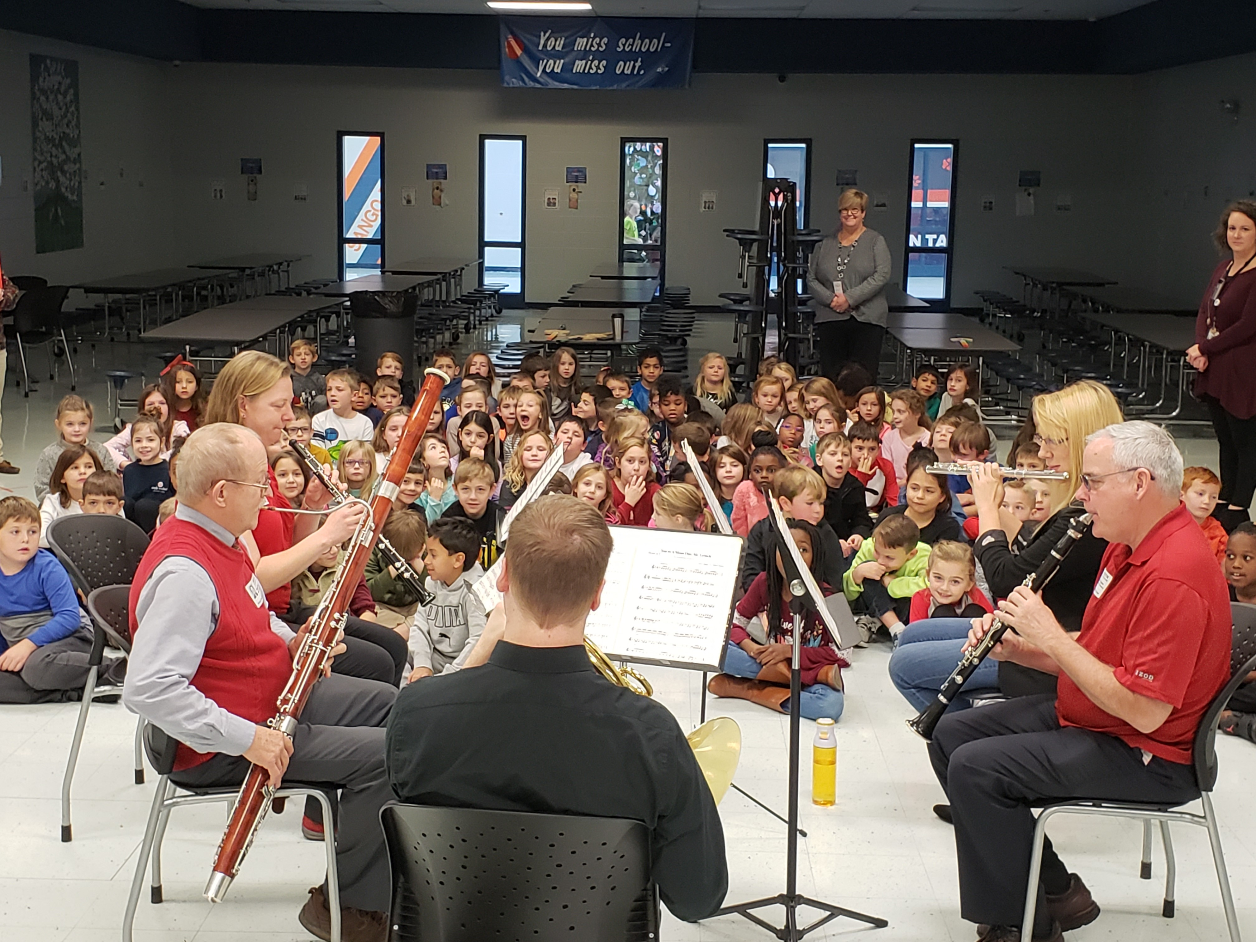 Cumberland Winds performing at an elementary school.