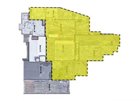 This diagram of the Frosty Morn buildings shows the area, in yellow, that is being torn down and removed. The other areas will be cleaned up and restored as a community center.