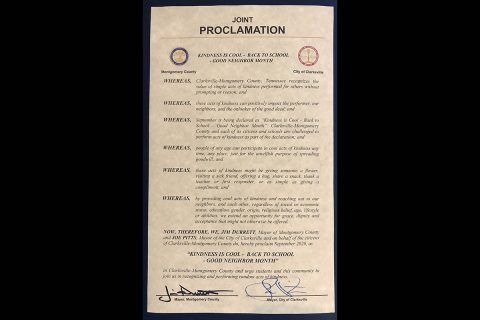 Kindness is Cool Back to School/Good Neighbor Month proclamation