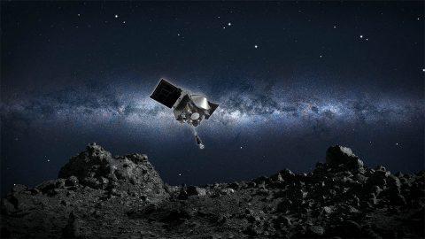 This artist's concept shows NASA's OSIRIS-REx spacecraft descending towards asteroid Bennu to collect a sample of the asteroid's surface. (NASA/Goddard/University of Arizona)