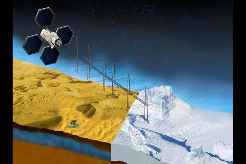 The OASIS project seeks to study fresh water aquifers in the desert as well as ice sheets in places like Greenland. This illustration shows what a satellite with a proposed radar instrument for the mission could look like. (NASA/JPL-Caltech)