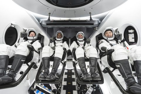 The SpaceX Crew-1 crew members (from left) NASA astronauts Shannon Walker, Victor Glover, Mike Hopkins, and JAXA (Japan Aerospace Exploration Agency) astronaut Soichi Noguchi. (SpaceX)