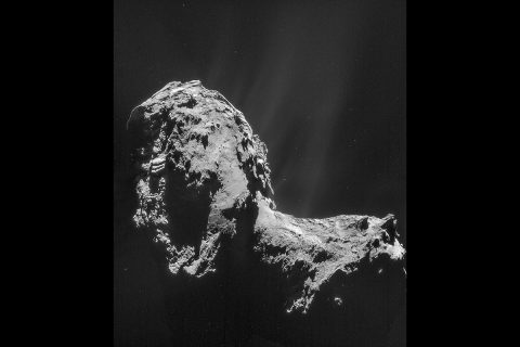 This composite is a mosaic comprising four individual NAVCAM images taken from 19 miles (31 kilometers) from the center of comet 67P/Churyumov-Gerasimenko on Nov. 20, 2014. The image resolution is 10 feet (3 meters) per pixel. (ESA/Rosetta/NAVCAM)