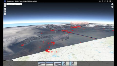 This screenshot shows an interactive 3D visualization that allows you to explore the height of smoke plumes from the California fires, using data from Multi-angle Imaging SpectroRadiometer (MISR) instrument aboard NASA's Terra satellite. (NASA/JPL-Caltech/GSFC)