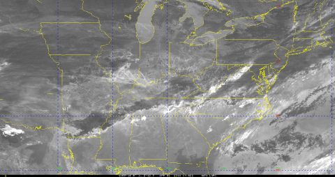 This image is from the GOES-16 satellite on April 1, 2018, when there were many flights and subsequently many contrails. (William Smith, NASA Langley Research Center)