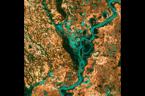 Small, blocky shapes of towns, fields, and pastures surround the meandering Mississippi River, the largest river system in North America in this Landsat image. (NASA's Goddard Space Flight Center/USGS)