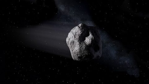 This illustration shows a near-Earth asteroid like asteroid 2020 SW traveling through space. (NASA/JPL-Caltech)