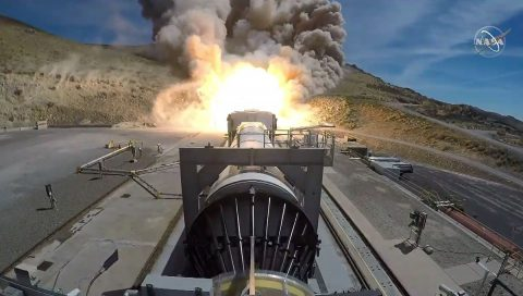 NASA and Northrop Grumman successfully complete the Flight Support Booster-1 (FSB-1) test in Promontory, Utah, on Sept. 2. The full-scale booster firing was conducted with new materials and processes that may be used for NASA's Space Launch System (SLS) rocket boosters. (NASA)