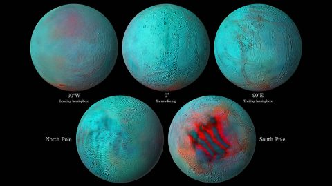 In these detailed infrared images of Saturn's icy moon Enceladus, reddish areas indicate fresh ice that has been deposited on the surface. (NASA/JPL-Caltech/University of Arizona/LPG/CNRS/University of Nantes/Space Science Institute)
