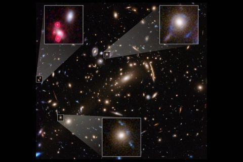 This Hubble Space Telescope image shows the massive galaxy cluster MACS J1206. Embedded within the cluster are the distorted images of distant background galaxies, seen as arcs and smeared features. These distortions are caused by the amount of dark matter in the cluster, whose gravity bends and magnifies the light from faraway galaxies. This effect, called gravitational lensing, allows astronomers to study remote galaxies that would otherwise be too faint to see. (NASA, ESA, P. Natarajan (Yale University), G. Caminha (University of Groningen), M. Meneghetti (INAF-Observatory of Astrophysics and Space Science of Bologna), the CLASH-VLT/Zooming teams; acknowledgment: NASA, ESA, M. Postman (STScI), the CLASH team)