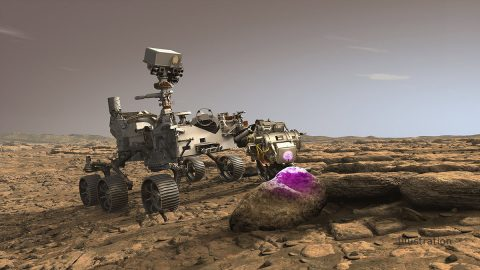 In this illustration, NASA's Perseverance Mars rover uses the Planetary Instrument for X-ray Lithochemistry (PIXL). Located on the turret at the end of the rover's robotic arm, the X-ray spectrometer will help search for signs of ancient microbial life in rocks. (NASA/JPL-Caltech)
