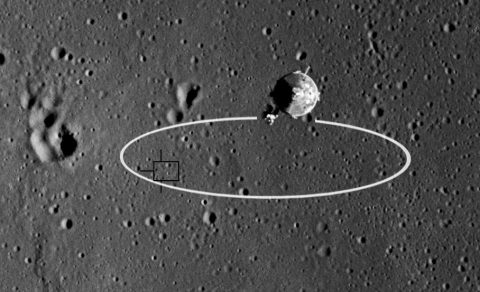 The Apollo 11 landing ellipse, shown here, was 11 miles by 3 miles. Precision landing technology will reduce landing area drastically, allowing for multiple missions to land in the same region. (NASA)