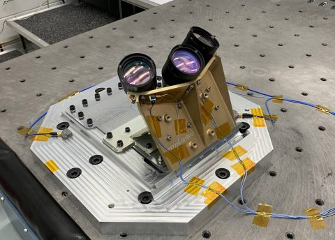 NASA's navigation Doppler lidar instrument is comprised of a chassis, containing electro-optic and electronic components, and an optical head with three telescopes. (NASA)