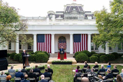 President Donald Trump and Vice President Mike Pence give remarks during an update on the nation's Coronavirus testing strategy. (White House)