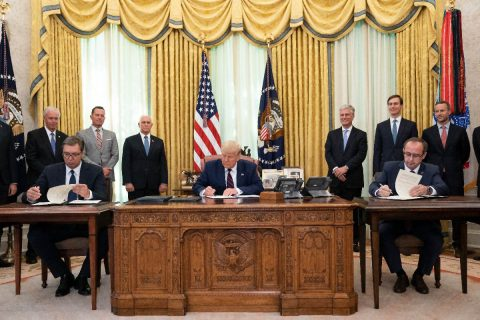 President Donald Trump participates in a signing ceremony with Serbian President Aleksandar Vučić and Kosovo Prime Minister Avdullah Hoti. (White House)
