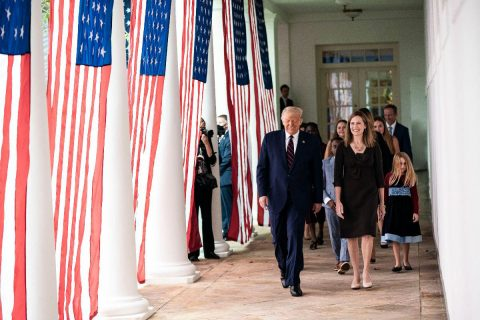 President Donald Trump walks with Judge Amy Coney Barrett, his nominee for Associate Justice of the Supreme Court of the United States. (White House)