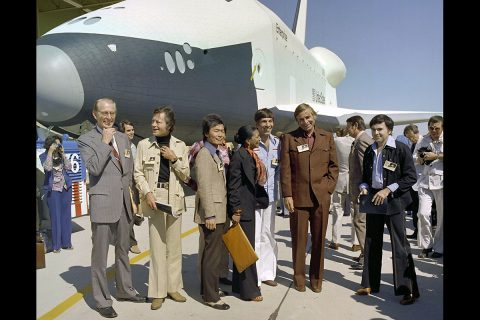 The creator and cast members of Star Trek attend the rollout of Space Shuttle Enterprise with NASA Administrator Fletcher (at left). (NASA)