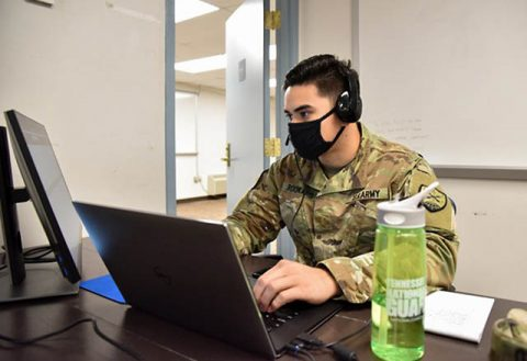 2nd Lt. Curtis Rookard, a Cyber Operations Officer with the Tennessee National Guard's 175th Cyber Protection Team, participates in Cyber Shield 2020, in Smyrna, Sept. 22. Cyber Shield 2020 is an annual exercise designed to increase response capabilities and preparedness among more than 540 cyber professionals across the National Guard, as well as government agencies and industry experts. (Staff Sgt. Timothy Cordeiro)