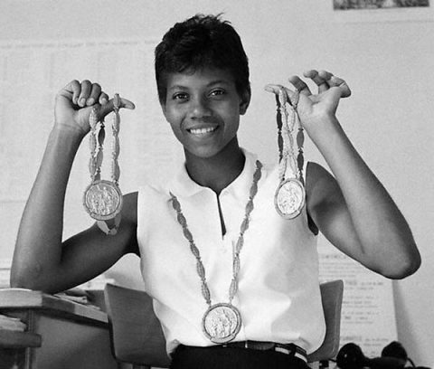 Wilma Rudolph with Olympic Medals