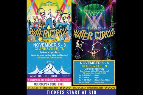 Cirque Italia will be performing in Clarksville November 5th through November 8th at the Clarskville Speedway.