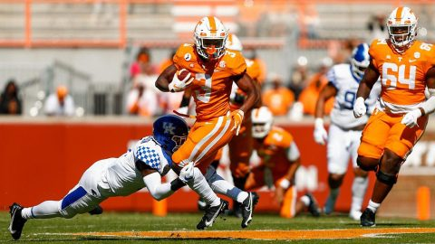 Tennessee Vols football sophomore running back Eric Gray rushed for a season-high 128 yards against the Kentucky Wildcats at Neyland Stadium, Saturday. (UT Athletics)