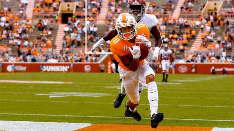 Tennessee Vols football had two passing touchdowns in loss to Alabama Crimson Tide Saturday at Neyland Stadium. (UT Athletics)