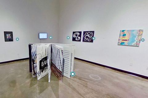 360º video allows online virtual walk through of Austin Peay State University's Art + Design Faculty Triennial. (APSU)