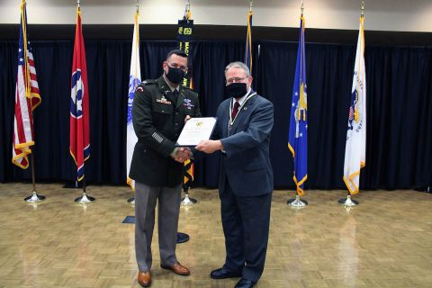 Clemmer presents the ROTC Hall of Fame certificate to retired Lt. Col. Greg Lane. (APSU)