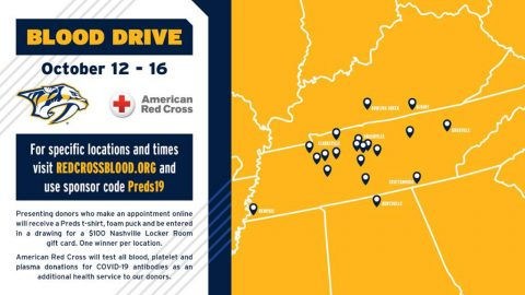 American Red Cross, Nashville Predators team up for largest multi-state summer Blood Drive, October 12th-16th.
