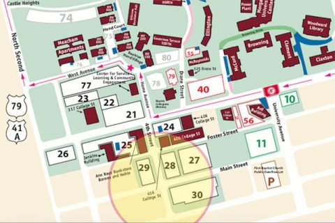 Austin Peay State University parking map for losts 28, 29 and 30. (APSU)