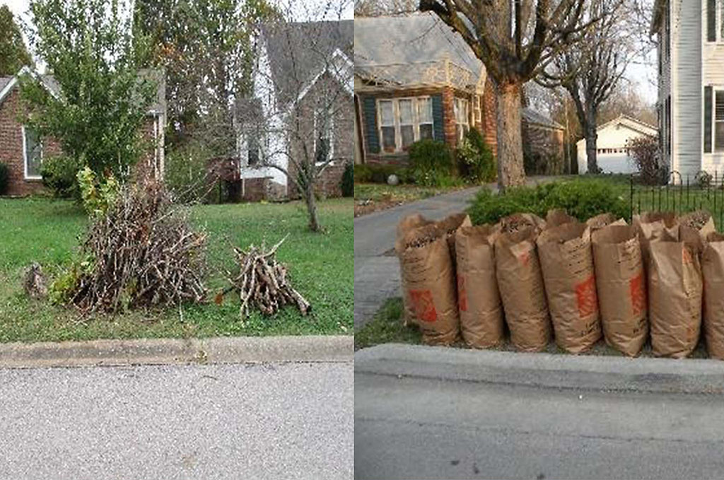 During the annual Fall Cleanup, the Clarksville Street Department will pick up smaller limbs, left, and clippings and leaves placed in biodegradable bags or boxes.