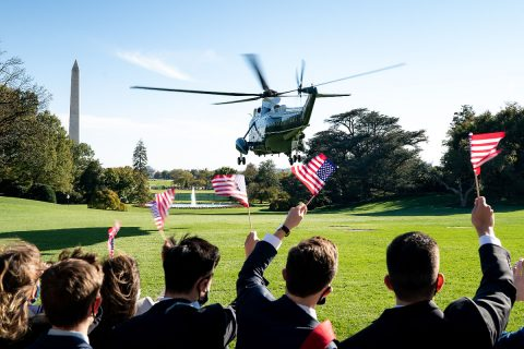 Marine One carrying President Donald J. Trump lifts off from the South Lawn. (White House)