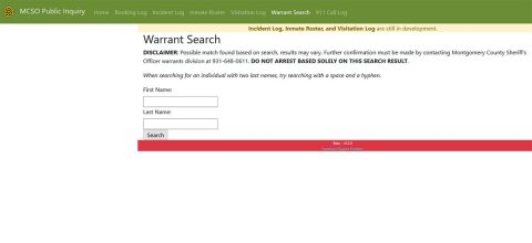Montgomery County Sheriff's Office Warrant Search