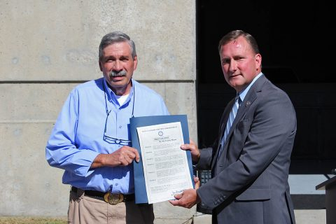 Montgomery County Sheriff John Fuson presents Doug Tackett with Proclamation from Montgomery County.