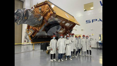 The Sentinel-6 Michael Freilich satellite undergoes final preparations in a clean room at Vandenberg Air Force Base in California for an early November launch. (ESA/Bill Simpson)