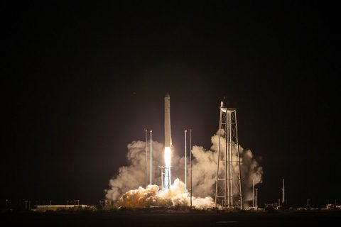 A Northrop Grumman Antares rocket launches to the International Space Station on Oct. 2nd, 2020, from NASA's Wallops Flight Facility, Wallops Island, Virginia. The rocket is carrying a Cygnus spacecraft with 8,000 pounds of supplies and experiments. (NASA Wallops/Patrick Black)