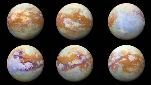 These infrared images of Saturn's moon Titan represent some of the clearest global views of the icy moon's surface. The views were created using 13 years of data acquired by the Visual and Infrared Mapping Spectrometer instrument onboard NASA's Cassini spacecraft. (NASA/JPL-Caltech/University of Nantes/University of Arizona)