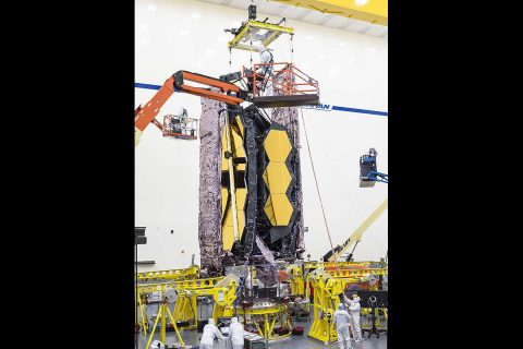 For the first time ever, testing teams at Northrop Grumman in Redondo Beach, California carefully lifted the fully assembled James Webb Space Telescope in order to prepare it for transport to nearby acoustic and sine-vibration testing facilities. (NASA/Chris Gunn)