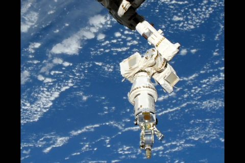 The International Space Station's Dextre robotic arm uses the Visual Inspection Poseable Invertebrate Robot 2 (VIPIR2) tool to complete operations on Robotic Refueling Mission 3 (RRM3). (NASA)