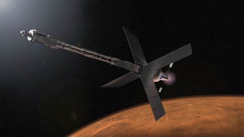 Illustration of a Mars transit habitat and nuclear propulsion system that could one day take astronauts to Mars. (NASA)