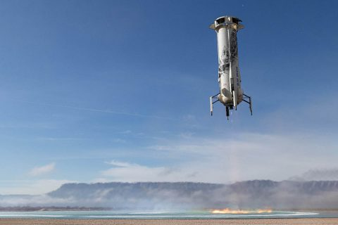 The New Shepard booster lands after this vehicle's sixth consecutive flight December 11th, 2019. (Blue Origin)
