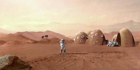 Illustration of a Mars habitat concept developed by the Colorado School of Mines and ICON for NASA's 3D-Printed Habitat Challenge. (Logan Architecture)