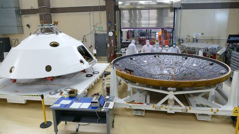 MEDLI2 sensors are installed on the Mars 2020 heat shield and back shell prior that will protect NASA's Perseverance rover on its journey to the surface of Mars. (Lockheed Martin)