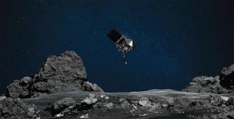 NASA's OSIRIS-REx mission readies itself to touch the surface of asteroid Bennu. (NASA/Goddard/University of Arizona)