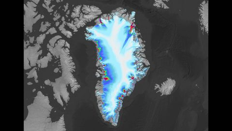 Greenland appears in this image created using data from the ITS_LIVE project, hosted at NASA's Jet Propulsion Laboratory. The coloring around the coast of the arctic island shows the speed of outlet glaciers flowing into the ocean. (NASA/JPL-Caltech/USGS)