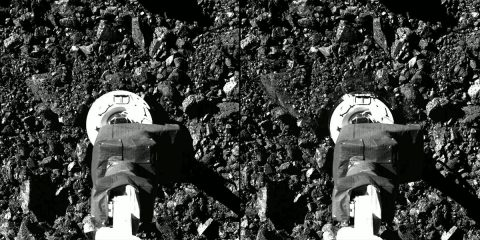 Captured on October 20th during the OSIRIS-REx mission's Touch-And-Go (TAG) sample collection event, this series of 2 images shows the SamCam imager's field of view at the moment before and after the NASA spacecraft touched down on asteroid Bennu's surface. (NASA/Goddard/University of Arizona)