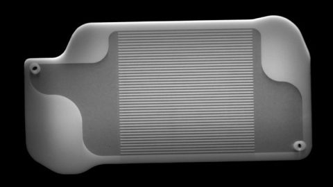 This X-ray image shows the inside of a 3D-printed part inside of Perseverance's MOXIE instrument. Martian air will be carried inside the tiny channels in the center of this part, where they'll be pre-heated. X-ray images like these are used to check for defects inside of parts; in this case, engineers checked to make sure the channels were free of 3D printing powder. (NASA/JPL-Caltech)