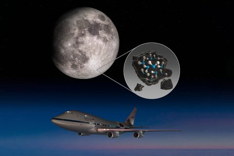 This illustration highlights the Moon's Clavius Crater with an illustration depicting water trapped in the lunar soil there, along with an image of NASA's Stratospheric Observatory for Infrared Astronomy (SOFIA) that found sunlit lunar water. (NASA/Daniel Rutter)
